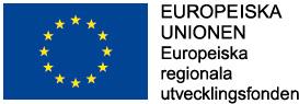 Bilden visar EU-flaggan och texten Europeiska Regionala Utvecklingsfonden
