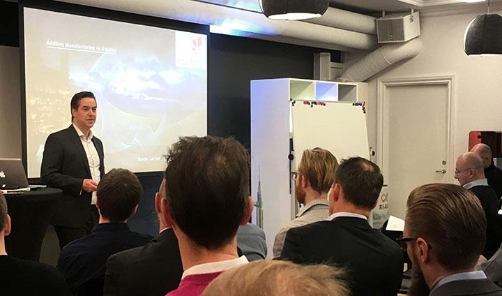 Brede Laerum från Equinor var en av talarna på Nordic AM Groups första seminarium.
