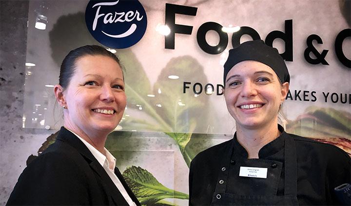Cecilia Billingmark och Anna Lövgren på Fazer Food & Co Norrtull.