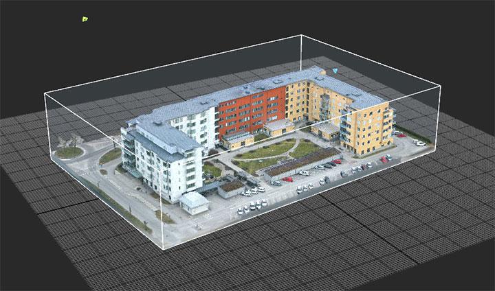 Kvarteret runt Hälsans Hus på Ängen i Örebro i en digital 3D-modell.