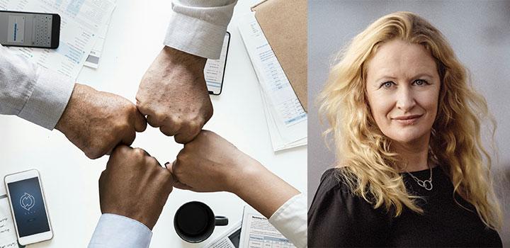 Bilden visar fyra händer som signalerar samarbete samt ett porträtt av Alfred Nobel Science Parks VD Christina Åhlstedt.